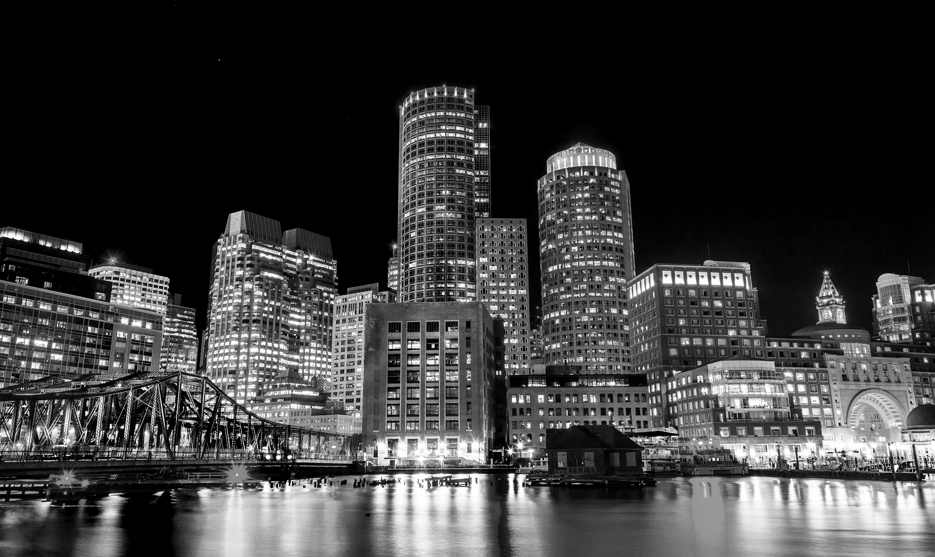 BostonNight_bw